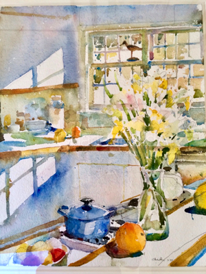 Daffodils with Blue Pot